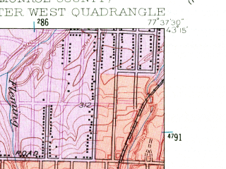 Reduced fragment of topographic map en--usgs--024k--038199--(1952)--N043-15-00_W077-45-00--N043-07-30_W077-37-30; towns and cities Gates-north Gates, Greece