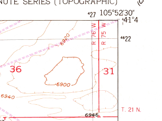 Reduced fragment of topographic map en--usgs--024k--038268--(1955)--N041-45-00_W106-00-00--N041-37-30_W105-52-30; towns and cities Rock River