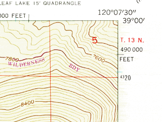 Reduced fragment of topographic map en--usgs--024k--038283--(1955)--N039-00-00_W120-15-00--N038-52-30_W120-07-30 in area of Stony Ridge Lake, Crag Lake
