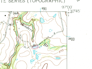 Reduced fragment of topographic map en--usgs--024k--038288--(1962)--N030-45-00_W097-07-30--N030-37-30_W097-00-00; towns and cities Rockdale