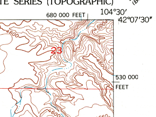 Reduced fragment of topographic map en--usgs--024k--038289--(1950)--N042-07-30_W104-37-30--N042-00-00_W104-30-00
