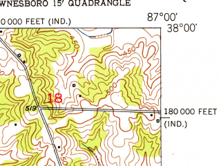 Reduced fragment of topographic map en--usgs--024k--038331--(1952)--N038-00-00_W087-07-30--N037-52-30_W087-00-00; towns and cities Rockport