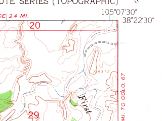 Reduced fragment of topographic map en--usgs--024k--038337--(1959)--N038-22-30_W105-15-00--N038-15-00_W105-07-30; towns and cities Coal Creek, Rockvale