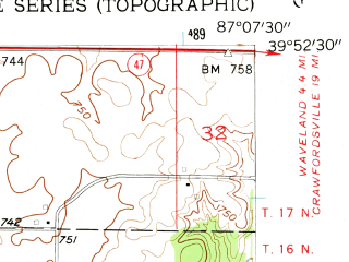 Reduced fragment of topographic map en--usgs--024k--038339--(1955)--N039-52-30_W087-15-00--N039-45-00_W087-07-30; towns and cities Bloomingdale, Judson, Marshall