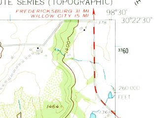 Reduced fragment of topographic map en--usgs--024k--038368--(1961)--N030-22-30_W098-37-30--N030-15-00_W098-30-00