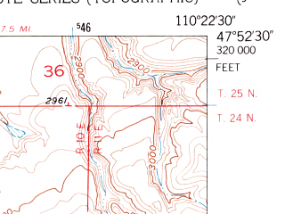 Reduced fragment of topographic map en--usgs--024k--038380--(1953)--N047-52-30_W110-30-00--N047-45-00_W110-22-30