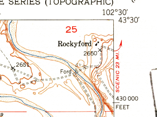 Reduced fragment of topographic map en--usgs--024k--038405--(1951)--N043-30-00_W102-37-30--N043-22-30_W102-30-00