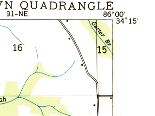 Reduced fragment of topographic map en--usgs--024k--038413--(1936)--N034-15-00_W086-07-30--N034-07-30_W086-00-00; towns and cities Sardis City