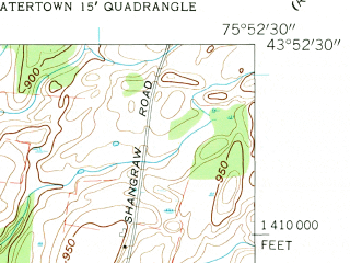 Reduced fragment of topographic map en--usgs--024k--038421--(1959)--N043-52-30_W076-00-00--N043-45-00_W075-52-30; towns and cities Adams Center