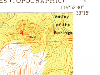 Reduced fragment of topographic map en--usgs--024k--038426--(1949)--N033-15-00_W117-00-00--N033-07-30_W116-52-30