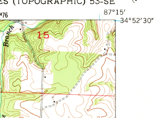 Reduced fragment of topographic map en--usgs--024k--038446--(1952)--N034-52-30_W087-22-30--N034-45-00_W087-15-00; towns and cities Rogersville