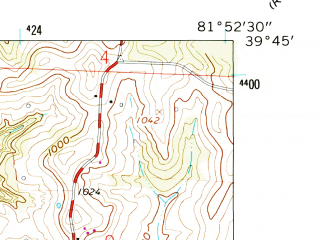 Reduced fragment of topographic map en--usgs--024k--038450--(1961)--N039-45-00_W082-00-00--N039-37-30_W081-52-30