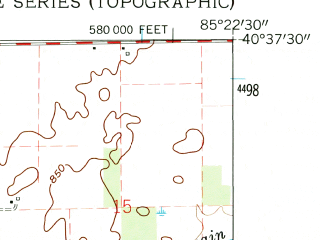 Reduced fragment of topographic map en--usgs--024k--038458--(1962)--N040-37-30_W085-30-00--N040-30-00_W085-22-30