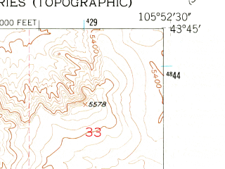 Reduced fragment of topographic map en--usgs--024k--038477--(1953)--N043-45-00_W106-00-00--N043-37-30_W105-52-30