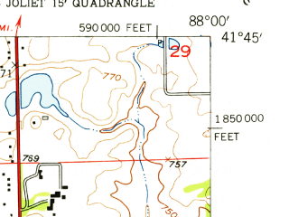 Reduced fragment of topographic map en--usgs--024k--038502--(1954)--N041-45-00_W088-07-30--N041-37-30_W088-00-00; towns and cities Bolingbrook, Woodridge, Romeoville