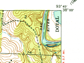 Reduced fragment of topographic map en--usgs--024k--038560--(1938)--N038-00-00_W093-52-30--N037-52-30_W093-45-00; towns and cities Roscoe