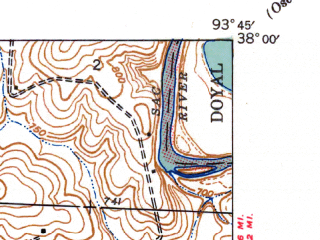 Reduced fragment of topographic map en--usgs--024k--038560--(1940)--N038-00-00_W093-52-30--N037-52-30_W093-45-00; towns and cities Roscoe