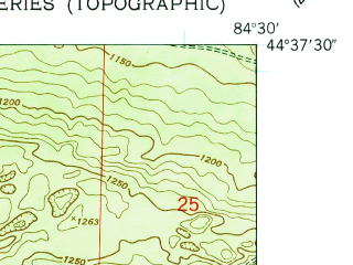 Reduced fragment of topographic map en--usgs--024k--038569--(1950)--N044-37-30_W084-37-30--N044-30-00_W084-30-00