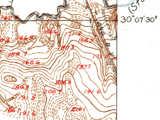 Reduced fragment of topographic map en--usgs--024k--038585--(1916)--N030-07-30_W095-45-00--N030-00-00_W095-37-30