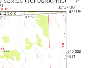 Reduced fragment of topographic map en--usgs--024k--038610--(1961)--N043-15-00_W082-45-00--N043-07-30_W082-37-30