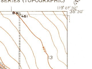 Reduced fragment of topographic map en--usgs--024k--038619--(1950)--N035-30-00_W119-15-00--N035-22-30_W119-07-30; towns and cities Greenacres, Rosedale