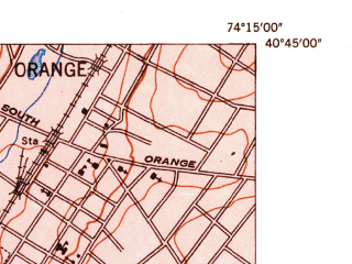 Reduced fragment of topographic map en--usgs--024k--038622--(1947)--N040-45-00_W074-22-30--N040-37-30_W074-15-00; towns and cities Union, Westfield, Maplewood, Roselle, Millburn