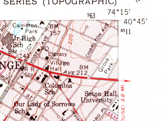 Reduced fragment of topographic map en--usgs--024k--038622--(1955)--N040-45-00_W074-22-30--N040-37-30_W074-15-00; towns and cities Union, Cranford, Westfield, Maplewood, Summit