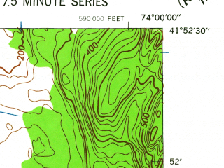 Reduced fragment of topographic map en--usgs--024k--038627--(1942)--N041-52-30_W074-07-30--N041-45-00_W074-00-00; towns and cities Rosendale Village, Tillson