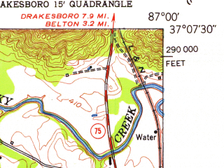 Reduced fragment of topographic map en--usgs--024k--038637--(1953)--N037-07-30_W087-07-30--N037-00-00_W087-00-00