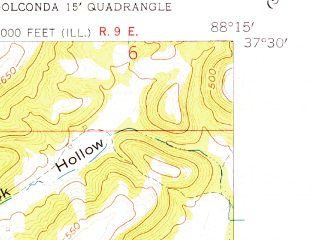 Reduced fragment of topographic map en--usgs--024k--038645--(1959)--N037-30-00_W088-22-30--N037-22-30_W088-15-00; towns and cities Carrsville, Elizabethtown, Rosiclare