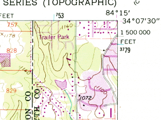 Reduced fragment of topographic map en--usgs--024k--038686--(1956)--N034-07-30_W084-22-30--N034-00-00_W084-15-00; towns and cities Roswell, Alpharetta