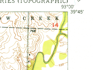 Reduced fragment of topographic map en--usgs--024k--038697--(1950)--N039-45-00_W093-07-30--N039-37-30_W093-00-00; towns and cities Rothville
