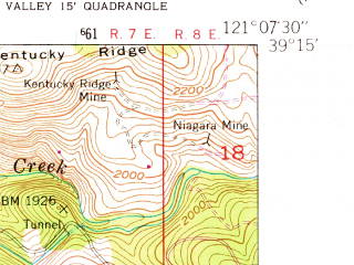 Reduced fragment of topographic map en--usgs--024k--038706--(1949)--N039-15-00_W121-15-00--N039-07-30_W121-07-30 in area of Lake Wildwood; towns and cities Penn Valley