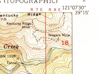 Reduced fragment of topographic map en--usgs--024k--038706--(1950)--N039-15-00_W121-15-00--N039-07-30_W121-07-30 in area of Lake Wildwood; towns and cities Penn Valley