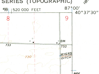 Reduced fragment of topographic map en--usgs--024k--038733--(1962)--N040-37-30_W087-07-30--N040-30-00_W087-00-00