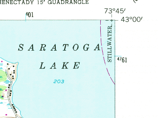 Reduced fragment of topographic map en--usgs--024k--038743--(1954)--N043-00-00_W073-52-30--N042-52-30_W073-45-00; towns and cities Country Knolls, Round Lake