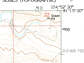 Reduced fragment of topographic map en--usgs--024k--038768--(1961)--N041-15-00_W105-00-00--N041-07-30_W104-52-30