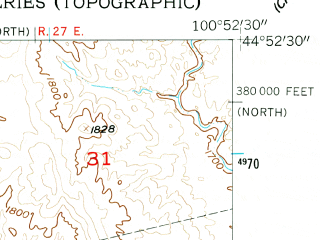 Reduced fragment of topographic map en--usgs--024k--038787--(1956)--N044-52-30_W101-00-00--N044-45-00_W100-52-30