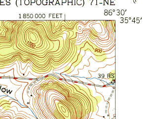 Reduced fragment of topographic map en--usgs--024k--038790--(1951)--N035-45-00_W086-37-30--N035-37-30_W086-30-00