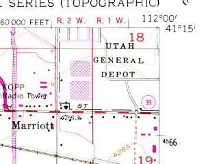 Reduced fragment of topographic map en--usgs--024k--038825--(1955)--N041-15-00_W112-07-30--N041-07-30_W112-00-00; towns and cities Roy, Clinton, Riverdale, Sunset, Hooper