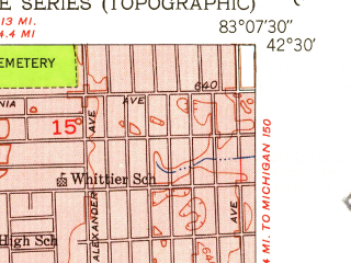 Reduced fragment of topographic map en--usgs--024k--038839--(1952)--N042-30-00_W083-15-00--N042-22-30_W083-07-30; towns and cities Ferndale, Oak Park, Berkley, Huntington Woods, Lathrup Village