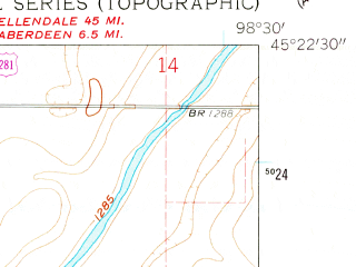 Reduced fragment of topographic map en--usgs--024k--038889--(1960)--N045-22-30_W098-37-30--N045-15-00_W098-30-00