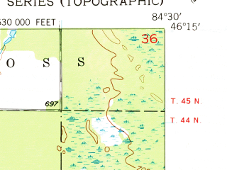 Reduced fragment of topographic map en--usgs--024k--038893--(1953)--N046-15-00_W084-37-30--N046-07-30_W084-30-00
