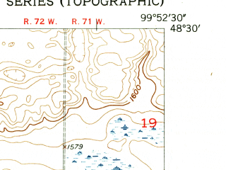 Reduced fragment of topographic map en--usgs--024k--038905--(1954)--N048-30-00_W100-00-00--N048-22-30_W099-52-30
