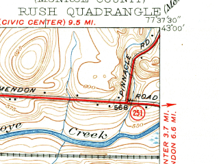 Reduced fragment of topographic map en--usgs--024k--038947--(1934)--N043-00-00_W077-45-00--N042-52-30_W077-37-30; towns and cities Avon