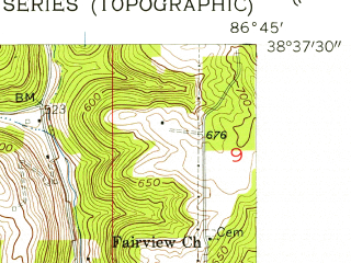 Reduced fragment of topographic map en--usgs--024k--038977--(1956)--N038-37-30_W086-52-30--N038-30-00_W086-45-00