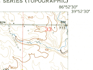 Reduced fragment of topographic map en--usgs--024k--039013--(1955)--N039-52-30_W087-00-00--N039-45-00_W086-52-30; towns and cities Russellville
