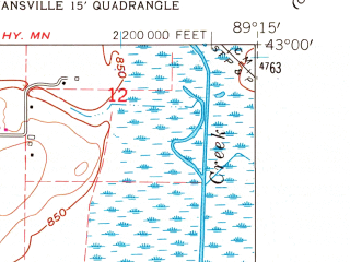 Reduced fragment of topographic map en--usgs--024k--039049--(1961)--N043-00-00_W089-22-30--N042-52-30_W089-15-00