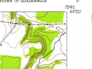 Reduced fragment of topographic map en--usgs--024k--039051--(1943)--N044-00-00_W075-52-30--N043-52-30_W075-45-00