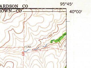Reduced fragment of topographic map en--usgs--024k--039090--(1960)--N040-00-00_W095-52-30--N039-52-30_W095-45-00; towns and cities Sabetha